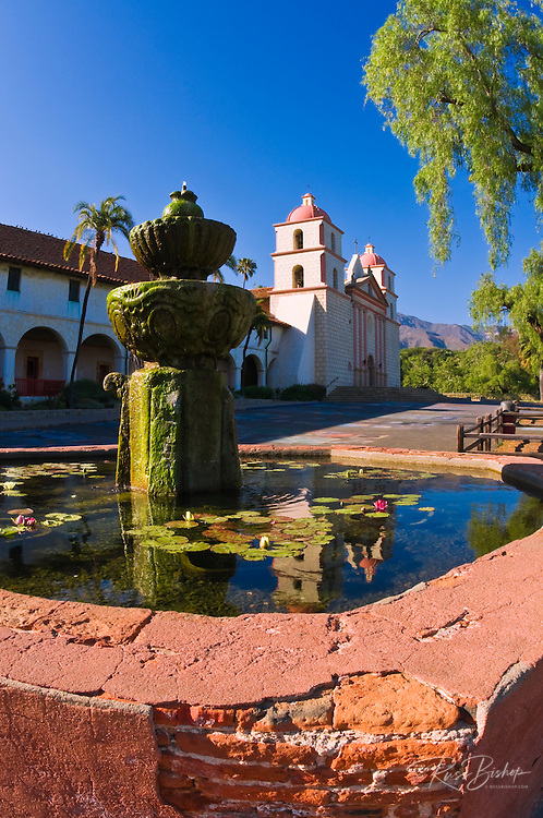 Spanish fountain at the Santa Barbara Mission (Queen of the missions), Santa Barbara, California USA
