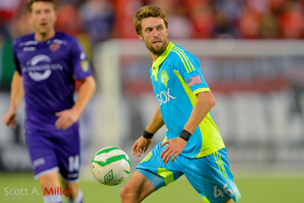 Seattle Sounders midfielder Blair Gavin (46) brings the ball upfield ball during a USL Pro soccer game against the Orlando City Lions at the Citrus Bowl on Aug. 11, 2013 in Orlando, Florida. <br /> <br /> &copy;2013 Scott A. Miller