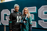 Philadelphia Eagles fans outside Wembley during the International Series match between Jacksonville Jaguars and Philadelphia Eagles at Wembley Stadium, London, England on 28 October 2018.