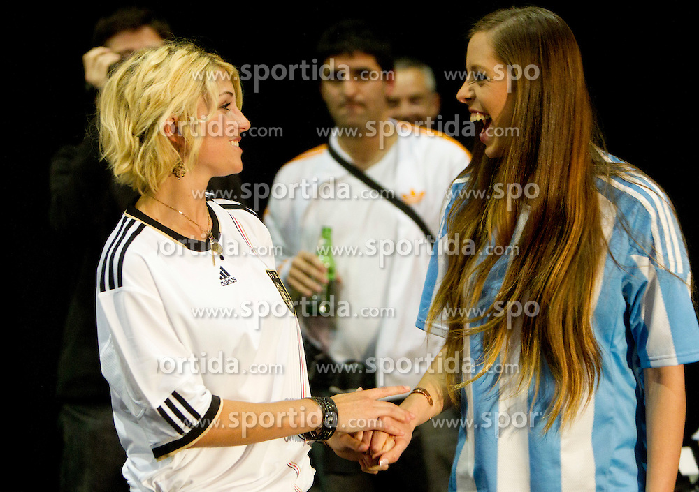 Miss Germany Maike Frohlingsdorf and Miss Argentina Mae Screlkove  as Miss World contestants from the quarter finals FIFA World Cup 2010 at AIPS glamour event on June 30, 2010 at Nelson Mandela Square in Sandton Convention Centre in Johannesburg. (Photo by Vid Ponikvar / Sportida)