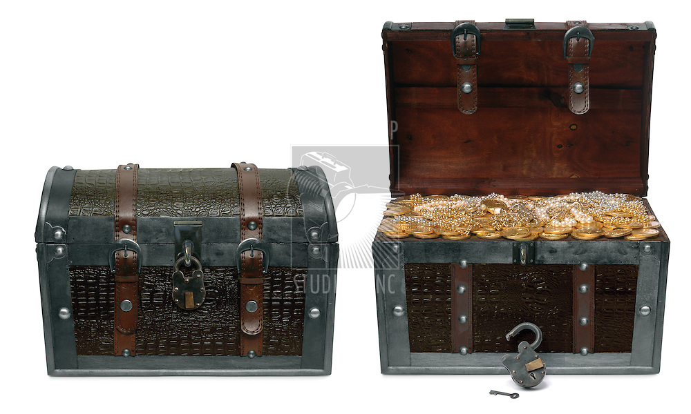 Two treasure chests isolated on a white background with clipping paths; one in a closed position and the other open revealing treausre inside