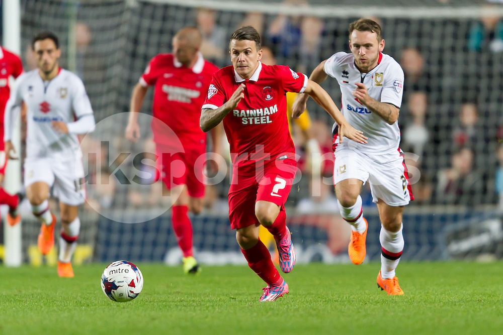 Dean Cox of Leyton Orient in action during the Capital One Cup match between Milton Keynes Dons and Leyton Orient at stadium:mk, Milton Keynes, England on 11 August 2015. Photo by Gareth  Brown.