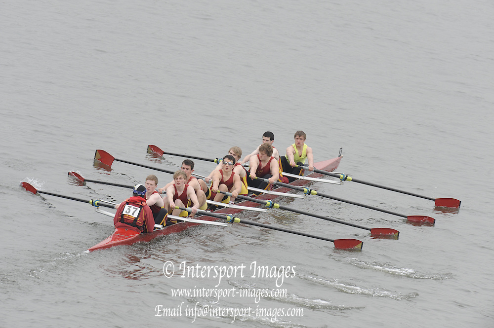 Chiswick. London.  2nd 8+, Monmouth, approach the start line as they compete in the 2011 Schools Head of the River Race, Mortlake to Putney, over the  Championship Course.Taken from Chiswick Bridge.  Thursday  17/03/2011 [Mandatory Credit, Peter Spurrier/Intersport-images]