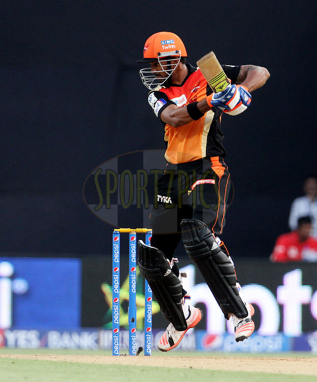during match 23 of the Pepsi IPL 2015 (Indian Premier League) between The Mumbai Indians and The Sunrisers Hyderabad held at the Wankhede Stadium in Mumbai India on the 25th April 2015.<br /> <br /> Photo by:  Vipin Pawar / SPORTZPICS / IPL