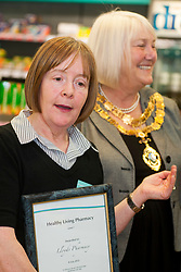 Lloyds Pharmacy Stocksbridge has achieved the status of 'Healthy Living Pharmacy'. A special accreditation for offering high levels of health screening  and advice to the local community. <br /> <br /> Pharmacy Manager Jackie Walter and the Mayor of Stocksbridge Susie Abrahams<br /> <br /> 04 October 2012<br /> Image © Paul David Drabble