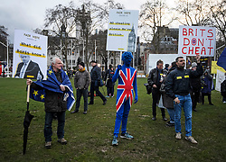 © Licensed to London News Pictures. 29/03/2018. London, UK. A demonstration held by Fair Vote, outside the Houses of Parliament in London, calling for a fair vote on the EU referendum. Whistleblowers Shahmir Sanni and Christopher Wylie both spoke at the event attended by a small number of people.. Photo credit: Ben Cawthra/LNP