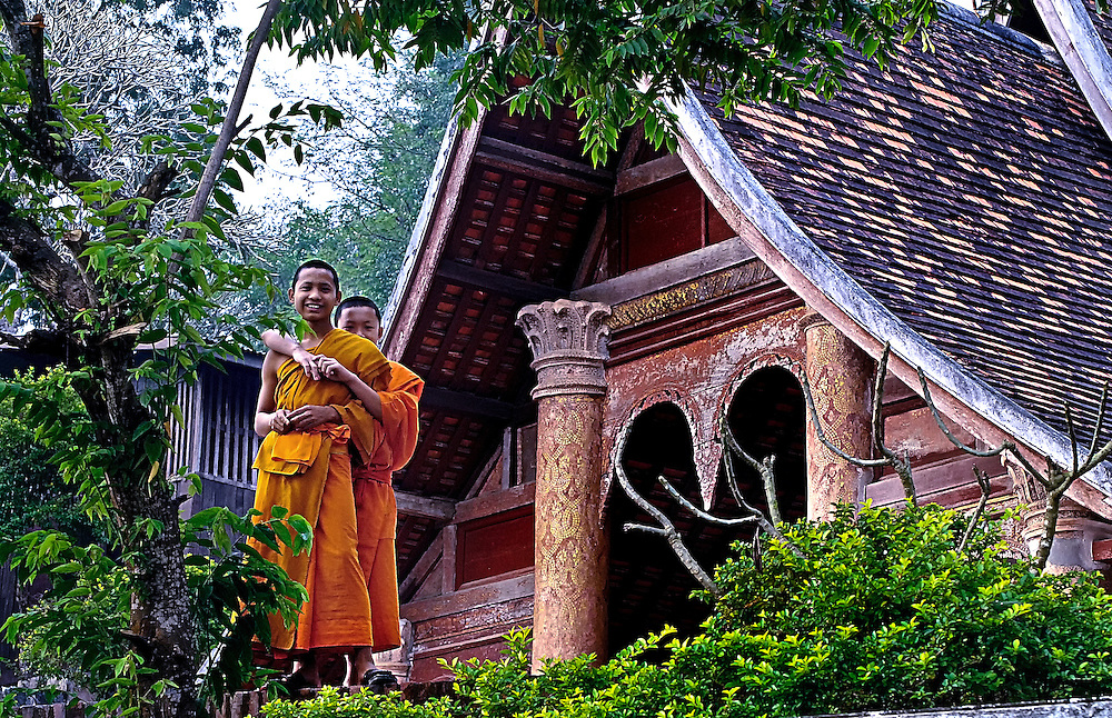 Novices after school at Wat Siphoutthabath in Luang Prabang, laos.