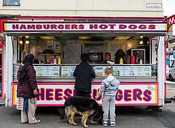 Fast food burger van selling cheap snacks at Barras market in Gallowgate Glasgow, United Kingdom
