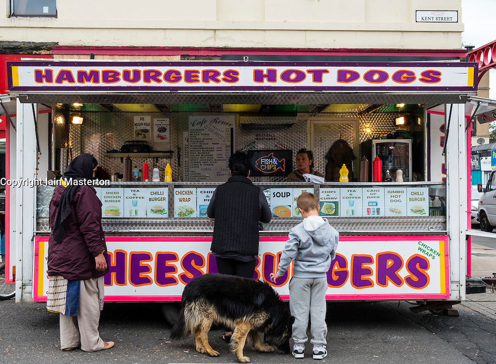 Fast food burger van selling cheap snacks at Barras market in Gallowgate Glasgow, United Kingdom