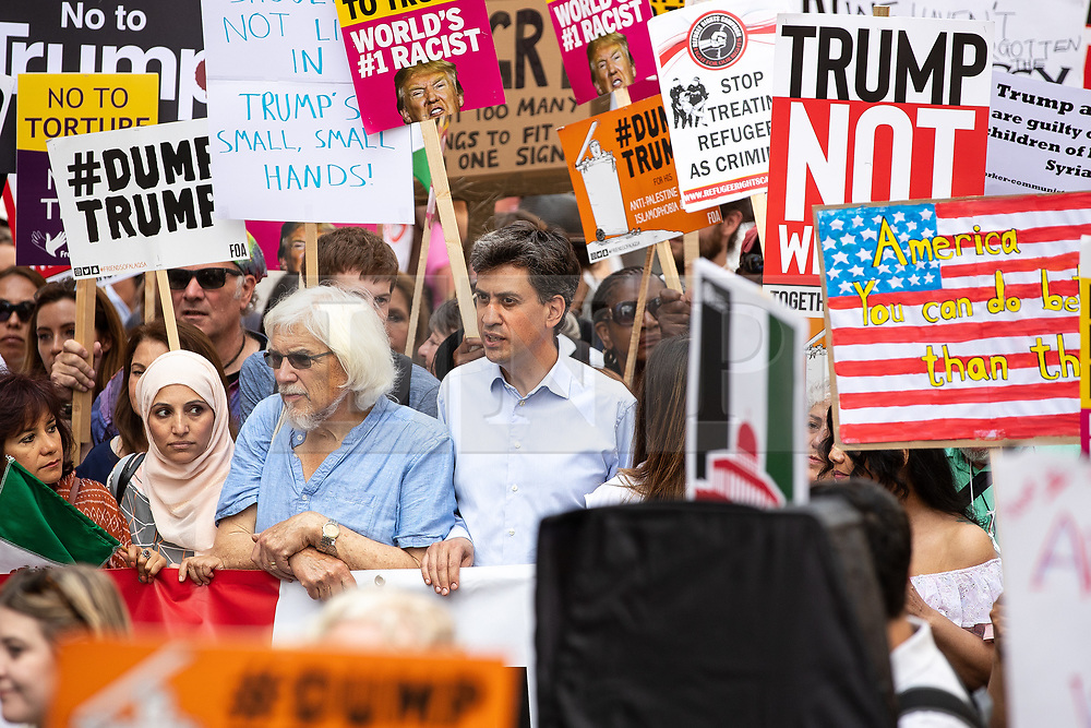 © Licensed to London News Pictures . 13/07/2018. London, UK. Former Labour Party leader ED MILIBAND amongst demonstrators . Demonstrators march from Portland Place to Trafalgar Square in protest against US President Donald Trump's UK visit . Photo credit: Joel Goodman/LNP