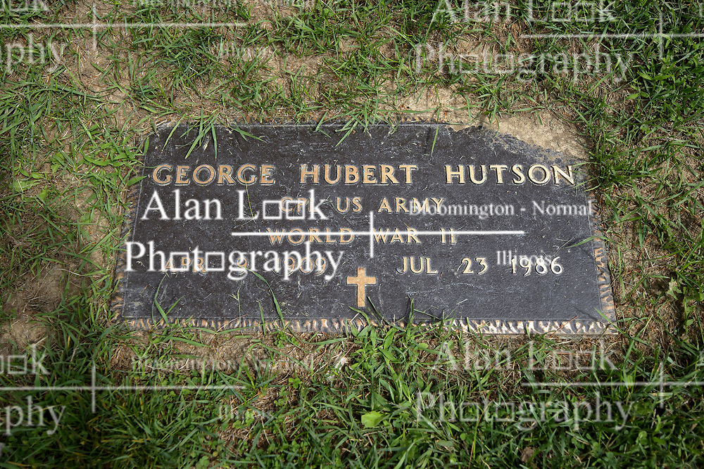 31 August 2017:   Veterans graves in Park Hill Cemetery in eastern McLean County.<br /> <br /> George Hubert Hutson  Corporal US Army  World War II  Apr 9 1909  Jul 23 1986
