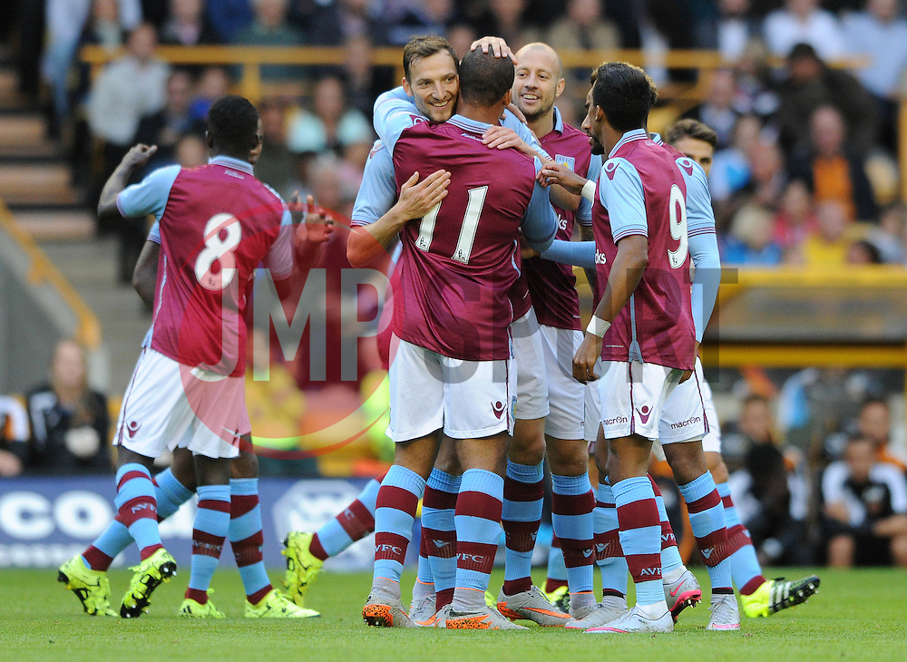 Libor Kozak of Aston Villa celebrates with his team mates after scoring - Mandatory by-line: Dougie Allward/JMP - 07966386802 - 28/07/2015 - SPORT - FOOTBALL - Wolverhampton,England - Molineux Stadium - Wolves v Aston Villa - Pre-Season Friendly