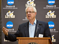 Gary Nicholson, speaks at the PLU Sports Hall of Fame banquet on Friday, Oct. 3, 2014. (PLU Photo/John Froschauer)