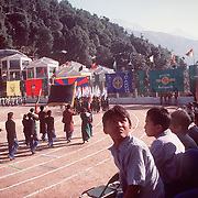 School children watche festivities at annual Tibetan Children Village celebration in Dharamsala, India, in 11/91.