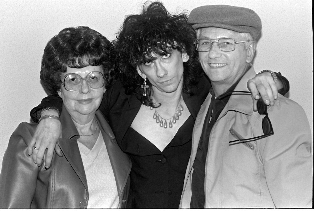 Stiv Bators, of Lords of the New Church, with his parents following a show at the former Heaven nightclub in downtown Pittsburgh.
