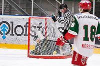 2019-12-02 | Umeå, Sweden:Björklöven (12) Brian Cooper in the goal in  HockeyAllsvenskan during the game  between Björklöven and Mora at A3 Arena ( Photo by: Michael Lundström | Swe Press Photo )<br /> <br /> Keywords: Umeå, Hockey, HockeyAllsvenskan, A3 Arena, Björklöven, Mora, mlbm191202