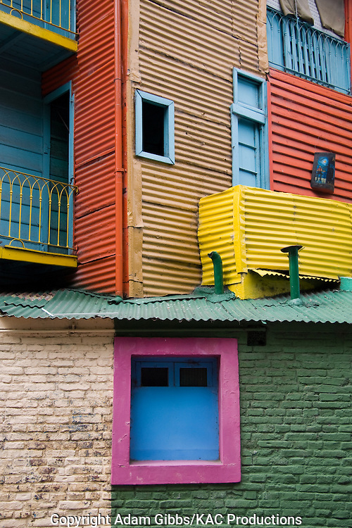 Colorful homes, La Boca, Buenos Aires, Argentina, South America, balcony, door.
