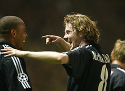 MANCHESTER, ENGLAND - Wednesday, April 23, 2003: Real Madrid's Ronaldo celebrates his hat-trick goal Manchester United with Steve McManaman during the UEFA Champions League Quarter Final 2nd Leg match at Old Trafford. (Pic by David Rawcliffe/Propaganda)
