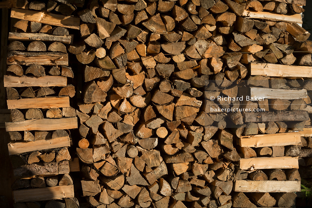 Detail of logs in a traditional Slovenian barn in a rural village, on 19th June 2018, in Bohinjska Bela, Bled, Slovenia.