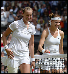 Image ©Licensed to i-Images Picture Agency. 03/07/2014. London, United Kingdom. Wimbledon Ladies Singles Semi Finals Lucie Safarova v <br /> Petra Kvitova at Wimbledon. Picture by Andrew Parsons / i-Images