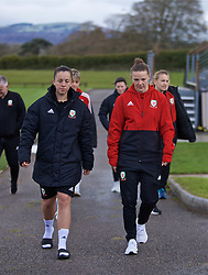 CARDIFF, WALES - Thursday, April 4, 2019: Wales' Bethan Lloyd (L) and Loren Dykes during a pre-match team walk at the Vale Resort ahead of an International Friendly match between Wales and Czech Republic at Rodney Parade. (Pic by David Rawcliffe/Propaganda)