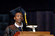 Senior class president Domarko Robinson delivers welcoming remarks during the Fiftieth Meadowdale High School commencement at the Dayton Masonic Center, Saturday, May 21, 2011.  This is also the first of 'the new Meadowdale High School' since they moved into the new building as seniors.