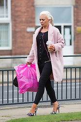 © Licensed to London News Pictures. 14/09/2015. Leeds, UK. Josie Cunningham arrives back at Leeds Magistrates court this afternoon after a shopping trip for a new coat & a costa coffee to face charges of 'revenge porn' she has pleaded not guilty to disclosing a private sexual photograph of former partner Andrew Goy. Photo credit: Andrew McCaren/LNP