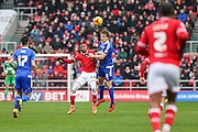 Bristol City's Jonathan Kodjia and  Ipswich Town's Christophe Berra during the Sky Bet Championship match between Bristol City and Ipswich Town at Ashton Gate, Bristol, England on 13 February 2016. Photo by Shane Healey.