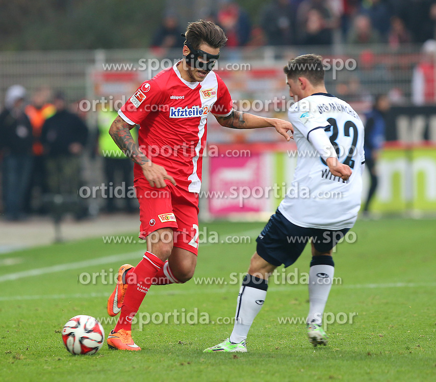 22.11.2014, Alte F&ouml;rsterei, Berlin, GER, 2. FBL, 1. FC Union Berlin vs TSV 1860 Muenchen, 14. Runde, im Bild Zweikampf zwischen Christopher Trimmel (1. FC Union Berlin) und Maximilian Wittek (TSV 1860 Muenchen) // SPO during the 2nd German Bundesliga 14th round match between 1. FC Union Berlin and TSV 1860 Muenchen at the Alte F&ouml;rsterei in Berlin, Germany on 2014/11/22. EXPA Pictures &copy; 2014, PhotoCredit: EXPA/ Eibner-Pressefoto/ Hundt<br /> <br /> *****ATTENTION - OUT of GER*****