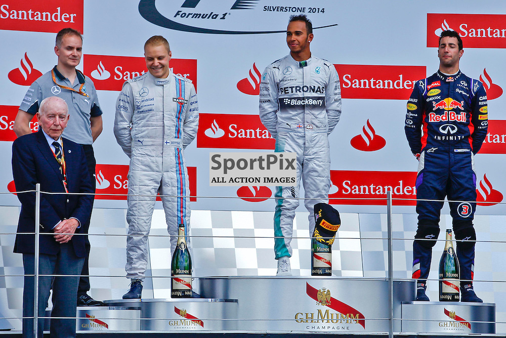FORMULA 1 SANTANDER BRITISH GRAND PRIX .. Lewis Hamilton, Daniel Ricciardo, Valtteri Bottas with Sir John Surtees in the British GP...(c) STEPHEN LAWSON   SportPix.org.uk