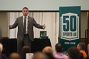 Doug Dawson, Vice President, Ticket Sales & Service at Dallas Cowboys, is the keynote speaker during the Darren Butler Sports Forum in Walter Rotunda on Friday, October 14, 2016.