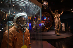 Photo taken on April 7, 2016 shows the Spacesuit SK-1 used during 1961-1963 at the Museum of Cosmonautics in Moscow, Russia. The Museum of Cosmonautics opens its doors to public on April 10th, 1981, 20th Anniversary of the first manned space flight. Museum exposition gives a retrospect on how space science evolved starting from first man-made satellites subsequently followed by the first manned space flight, first space walks, Moon exploration programs, Solar system exploration programs and international space research programs. EXPA Pictures © 2016, PhotoCredit: EXPA/ Photoshot/ Bai Xueqi<br /> <br /> *****ATTENTION - for AUT, SLO, CRO, SRB, BIH, MAZ, SUI only*****