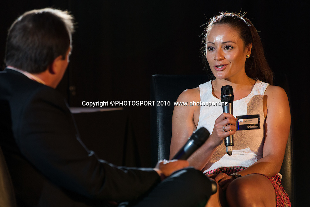M C Andrew Alderson interviews Natasha Hansen at the High Performance Sport NZ Waikato ceremony for the Prime Minister's Scholarship Awards, at Sir Don Rowlands Centre, Lake Karapiro, Cambridge, New Zealand, 20 April 2016. Copyright Photo: Stephen Barker / www.photosport.nz