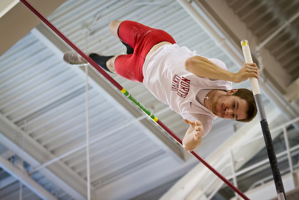 North Central College pole vaulter Josh Winder makes a last effort to clear the bar during the Pole Vault competition on Friday at the NCAA Division III Indoor Track and Field National Championships at Grinnell College.