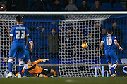 Brighton striker, Tomer Hemed (10)  scores the penalty  goal to go 1-0 up during the Sky Bet Championship match between Brighton and Hove Albion and Leeds United at the American Express Community Stadium, Brighton and Hove, England on 29 February 2016. Photo by Simon Davies.