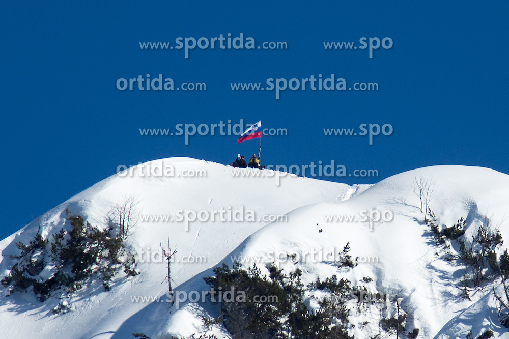 Fans watching on mountain Ciprnik during the Flying Hill Individual Competition at 2nd day of FIS Ski Jumping World Cup Finals Planica 2013, on March 22, 2012, in Planica, Slovenia. (Photo by Matic Klansek Velej / Sportida.com)