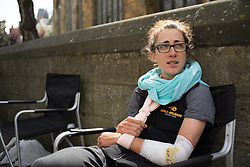 Christine Majerus (LUX) of Boels-Dolmans Cycling Team nurses her injuries after her crash during Stage 4 of the Aviva Women's Tour 2016