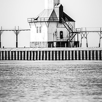 St. Joseph Michigan Lighthouse vertical panoramic black and white photo. Photo has retro vintage tone. The St. Joseph Michigan Lighhouse is a popular local attraction along Lake Michigan in Southwest Michigan. Panoramic photo ratio is 1:3. Image Copyright © Paul Velgos All Rights Reserved.