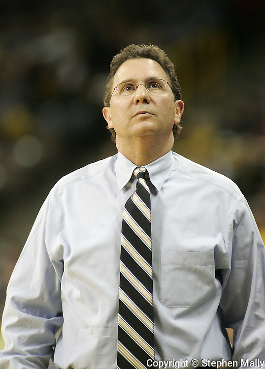 26 NOVEMBER 2007: Iowa head coach Todd Lickliter looks up at the scoreboard in Wake Forest's 56-47 win over Iowa at Carver-Hawkeye Arena in Iowa City, Iowa on November 26, 2007.