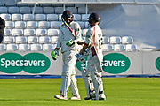 Batsmen Haseeb Hameed of Lancashire and Alex Davies of Lancashire walk from the field at the end of the seconds days play during the Specsavers County Champ Div 1 match between Somerset County Cricket Club and Lancashire County Cricket Club at the Cooper Associates County Ground, Taunton, United Kingdom on 13 September 2017. Photo by Graham Hunt.