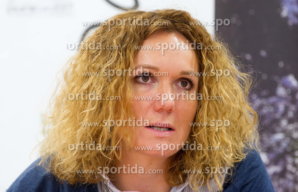 Ambassador Petra Majdic, former cross-country athlete at press conference of Planica Organizing committee, candidate city for Nordic World Championship 2017, on May 22, 2012 in SZS, Ljubljana, Slovenia. (Photo by Vid Ponikvar / Sportida.com)