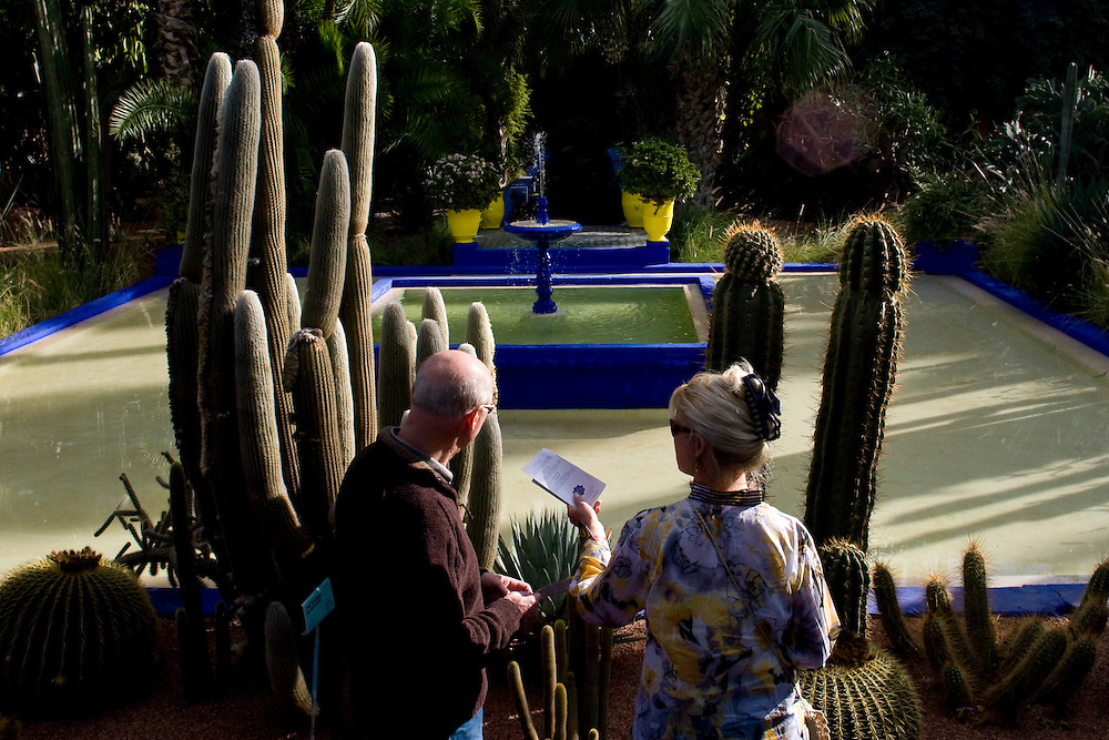 (Marrakesh, Morocco - January 9, 2009) - Visitors take in the Majorelle Gardens in Marrakesh. Photo by Will Nunnally / Will Nunnally Photography