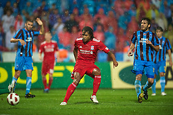 TRABZON, TURKEY - Thursday, August 26, 2010: Liverpool's Glen Johnson scores against Trabzonspor but the goal was disallowed during the UEFA Europa League Play-Off 2nd Leg match at the Huseyin Avni Aker Stadium. (Pic by: David Rawcliffe/Propaganda)