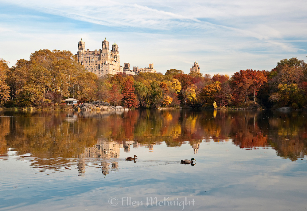 Reflections on The Lake in Central Park, New York City during autumn. The Beresford apartment building is in the background.