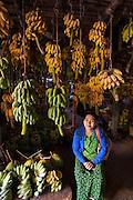 Banana seller, Sittway market, Burma