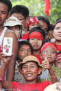 NLD campaign in October 2015 for Myanmar's national elections. Daw Aung San Suu Kyi contested a seat for the Lower House in this constituency outside of Yangon.