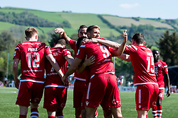 NEWTOWN, WALES - Sunday, May 6, 2018: Danny Harrison of Conahs Quay Nomads gives a thumbs up as the team celebrates their third goal scored by Michael Wilde during the FAW Welsh Cup Final between Aberystwyth Town and Connahs Quay Nomads at Latham Park. (Pic by Paul Greenwood/Propaganda) Rob Hughes Jonny Spittle