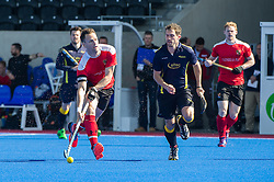 Holcombe's Richard Lane on the ball. Holcombe v Team Bath Buccaneers - Now: Pensions Finals Weekend, Lee Valley Hockey & Tennis Centre, London, UK on 12 April 2015. Photo: Simon Parker
