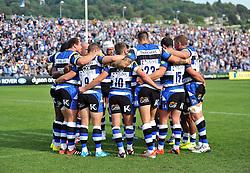 The Bath team huddle together - Photo mandatory by-line: Patrick Khachfe/JMP - Mobile: 07966 386802 13/09/2014 - SPORT - RUGBY UNION - Bath - The Recreation Ground - Bath Rugby v London Welsh - Aviva Premiership
