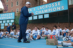 14 February 2009: North Carolina Tar Heels head coach Joe Breschi during the halftime of a 20-7 win over the Denver Pioneers on Fetzer Field in Chapel Hill, NC.